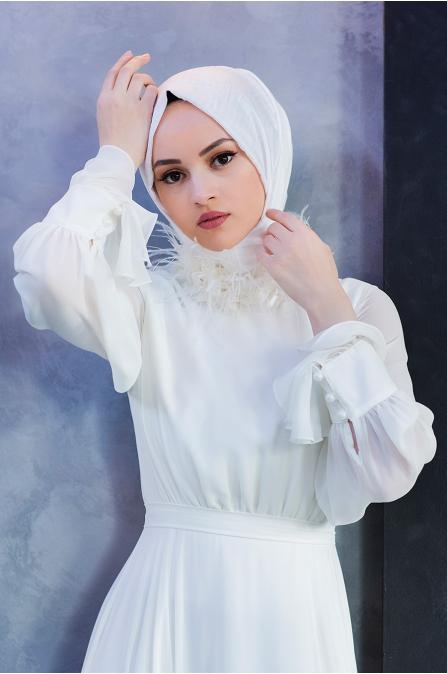 Yaka Detaylı Elbise - Ekru - Minel Aşk