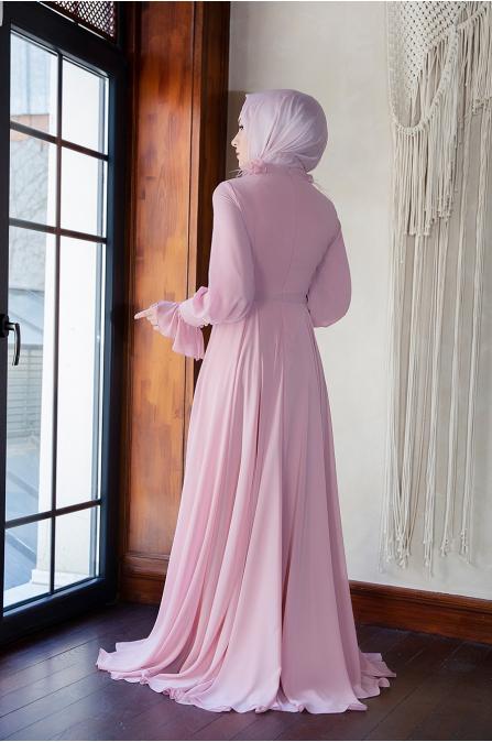 Yaka Detaylı Elbise - Pudra - Minel Aşk