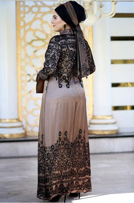 Dantelli Gold Siyah Abiye - Nesrin Emniyetli