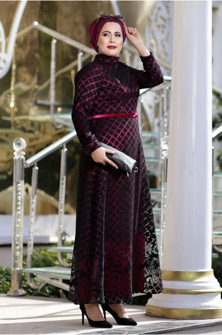 Nesrin Emniyetli - Gül Desenli - Büyük Beden Elbise