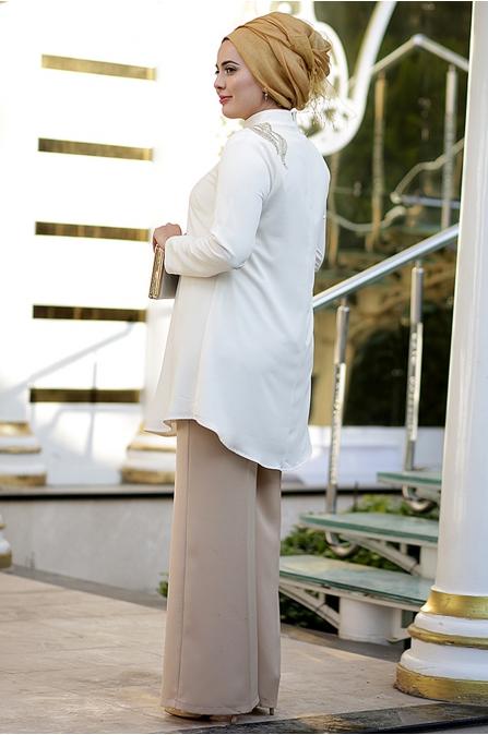 Nesrin Emniyetli 2'li Gold Nakışlı Ekru Tunik Pantolon Takım