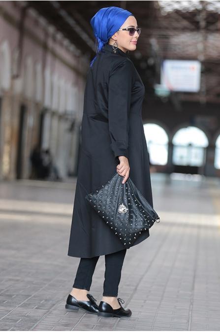 Siyah Deri Detaylı Tunik - Nesrin Emniyetli