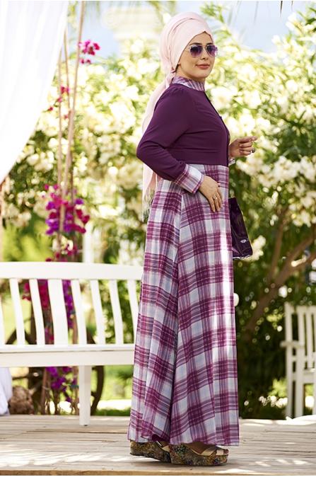 Mürdüm Ekose Desen Şifon Büyük Beden Tesettür Elbise