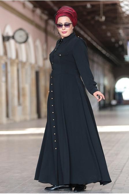 Nesrin Emniyetli Siyah Apoletli Elbise