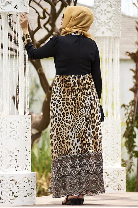 Leopar Etekli Şifon Büyük Beden Elbise
