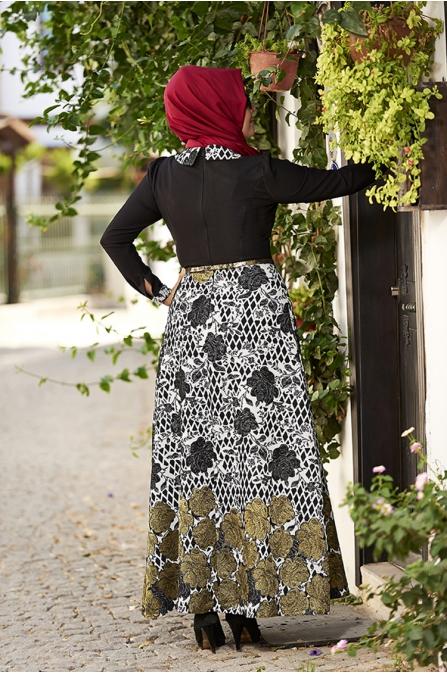 Rose Jakarlı Elbise - Siyah