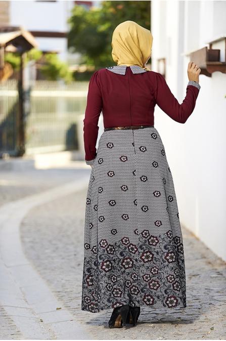 Rose Jakarlı Elbise - Bordo