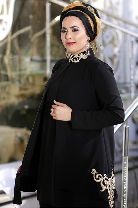 Nesrin - Emniyetli - Yanı Nakışlı Siyah Osmanlı Takım