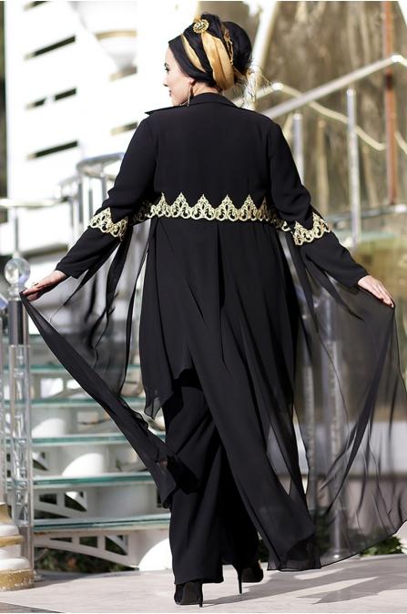 Nesrin Emniyetli Beli Nakışlı Siyah Osmanlı Takım