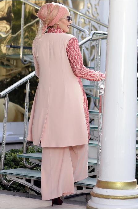 Nesrin Emniyetli - Lalezar Pudra Ceket Pantolon Takım