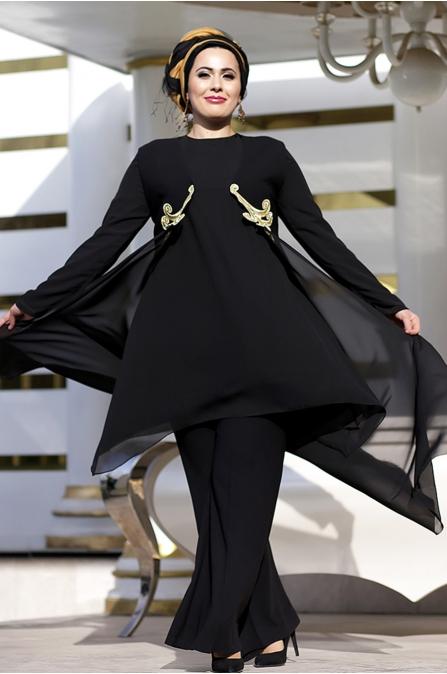 Nesrin Emniyetli Nakışlı Osmanlı Siyah Takım