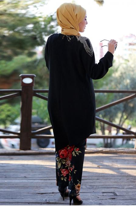 Omuz Aksesuarlı Tunik - Siyah