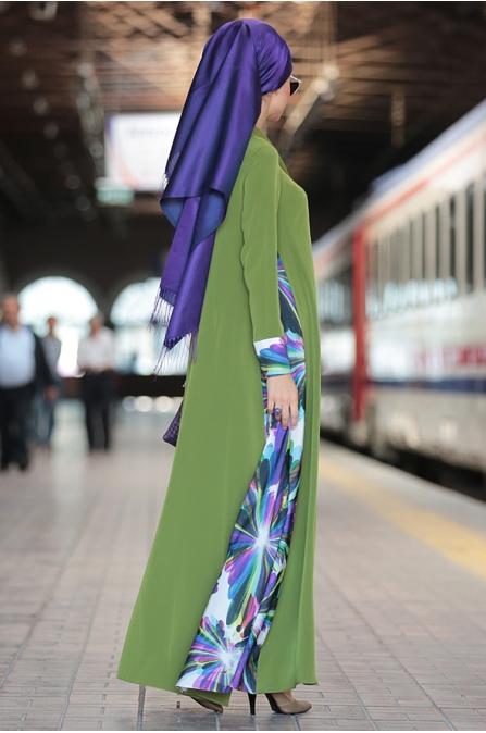 Nilüfer Kamacıoğlu Mendil Yaka Elbise - Yeşil