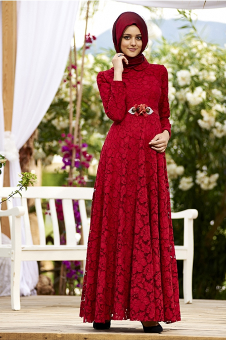 Kırmızı Güpür Dantel Tesettür Abiye Elbise