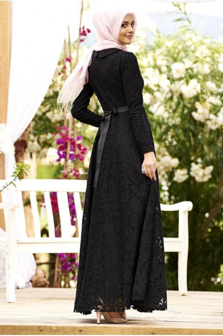 Siyah Güpür Dantel Tesettür Abiye Elbise