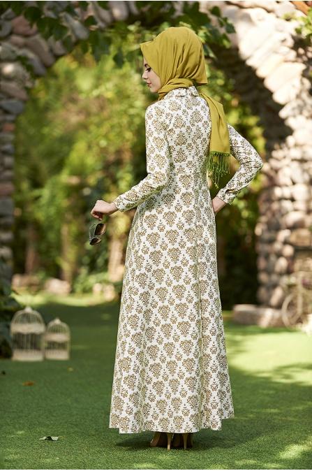 Asude Brokar Elbise - Antik Yeşil