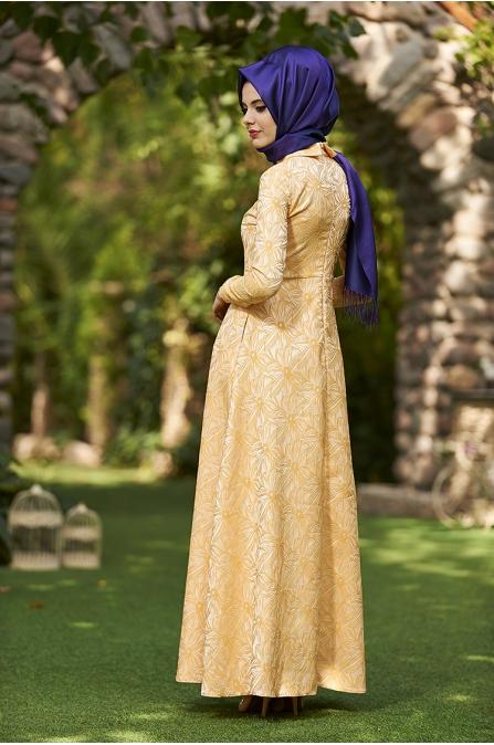 Asude Brokar Elbise - Safran