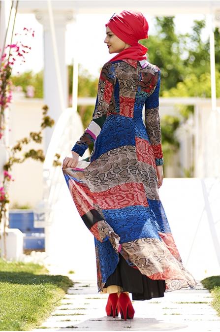 Dali Desen Şifon Tesettür Elbise