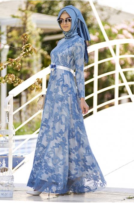 Dantel Elbise Likralı - İndigo