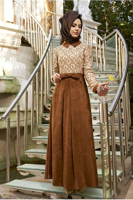 Kelebek Anatolia Elbise - Kahve