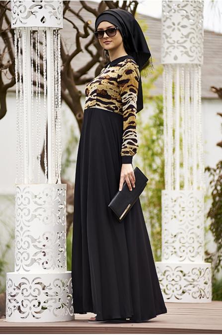 Leopar Desenli Siyah Şifon Elbise