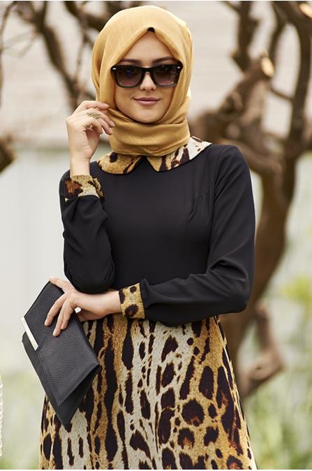 Leopar Etekli Siyah Şifon Elbise