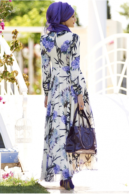 Mor Çiçekli Şifon Tesettür Elbise