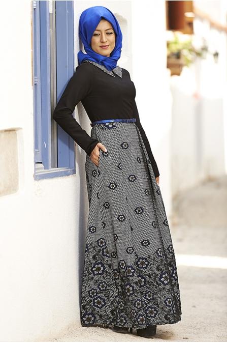 Jakarlı Elbise - Siyah - Nilüfer Kamacıoğlu
