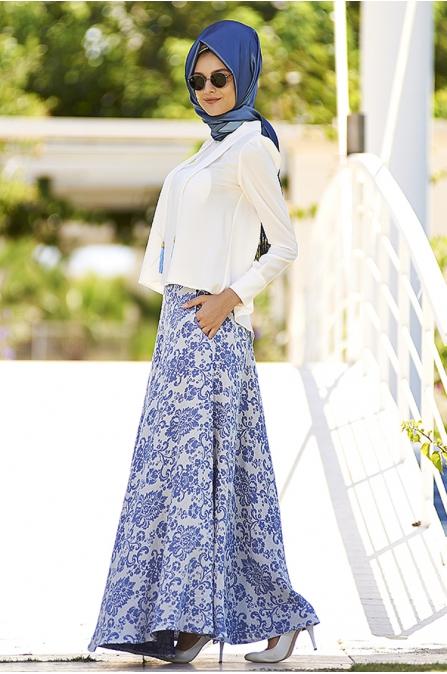 Nilüfer Kamacıoğlu Mavi Etek Bluz Takım