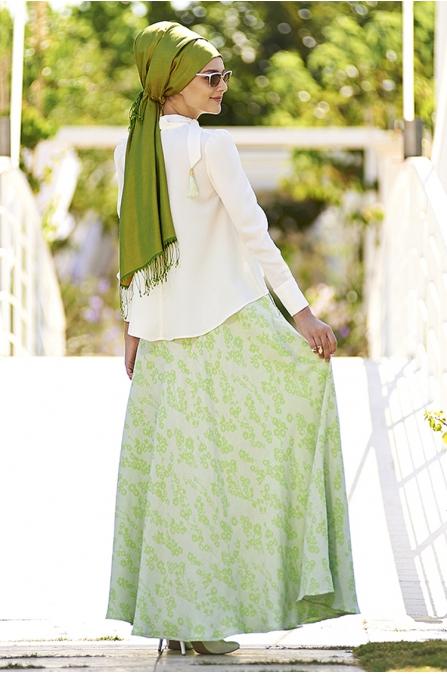 Nilüfer Kamacıoğlu Yeşil  Etek Bluz Takım