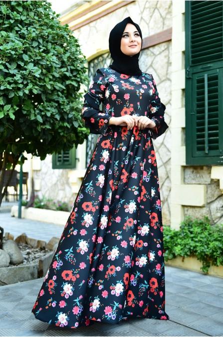 Çiçek Elbise - Siyah - Nurgül Çakır