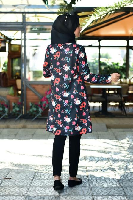 Çiçek Tunik - Siyah - Nurgül Çakır