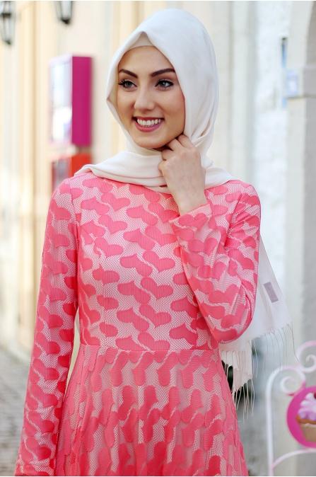 Nurkombin - Kalpli Elbise - Nar Çiçeği