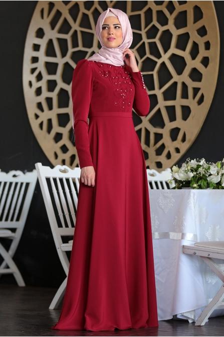 Mahperi Elbise - Bordo - Nurkombin