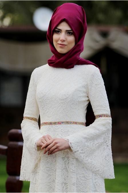 Nur Elbise - Ekru - Nurkombin