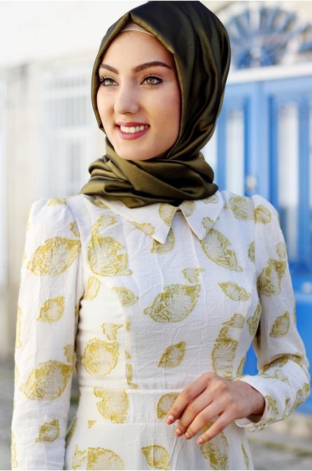 Nurkombin - Yaprak Elbise - Hardal