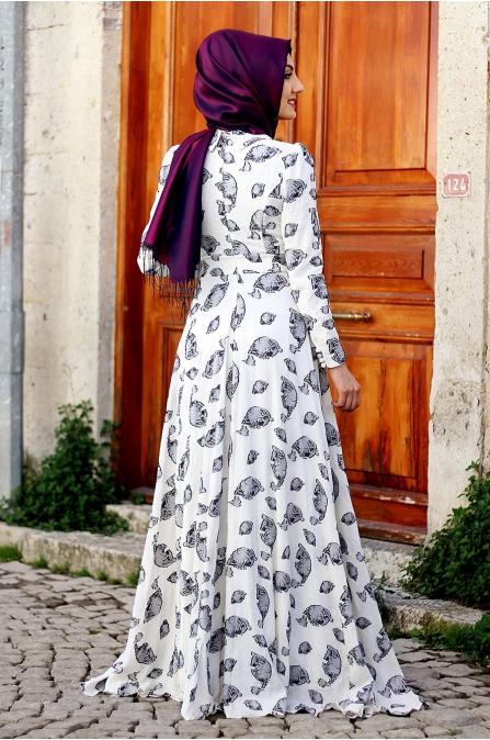 Nurkombin - Yaprak Elbise - Lacivert