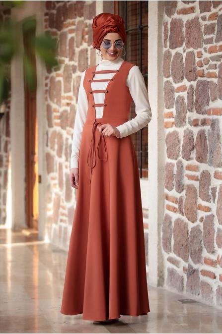 Sıla Salopet Elbise Kiremit - Piennar