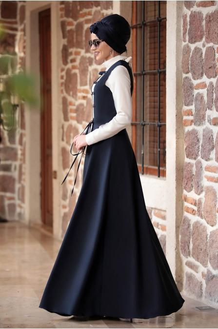 Sıla Salopet Elbise Lacivert - Piennar