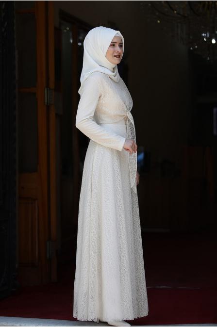 Dilşah Elbise - Krem - Piennar