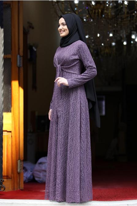 Dilşah Elbise - Mor - Piennar