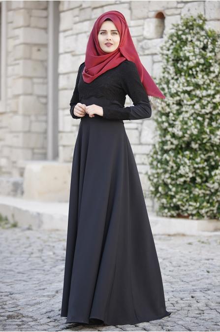 Piennar - Dantelli Elbise - Siyah