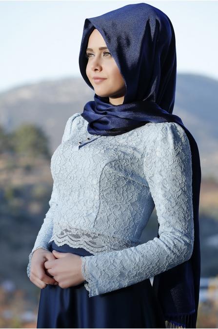 Piennar - Dantelli Yağmur Elbise - Bebe Mavisi