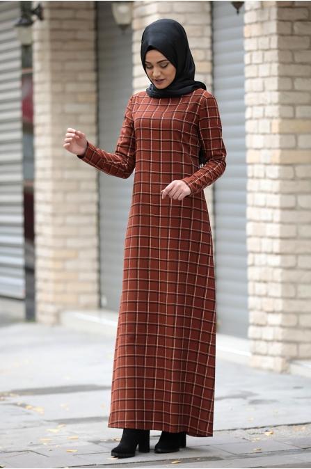 Hazal Ekose Elbise - Kremit Tek Çizgili - Piennar