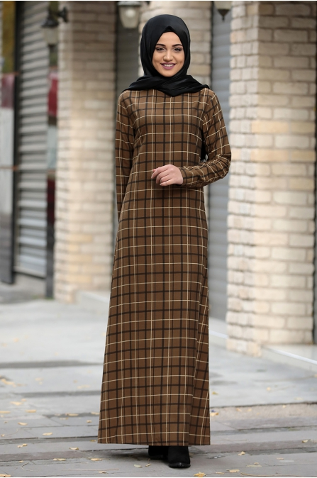 Hazal Ekose Elbise - Yağ Yeşili - Piennar