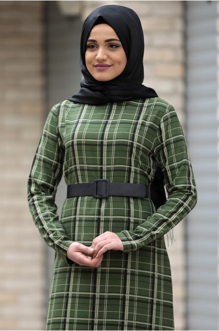 Hazal Ekose Elbise - Yeşil Çift Çizgili - Piennar