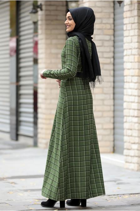 Hazal Ekose Elbise - Yeşil Tek Çizgili - Piennar
