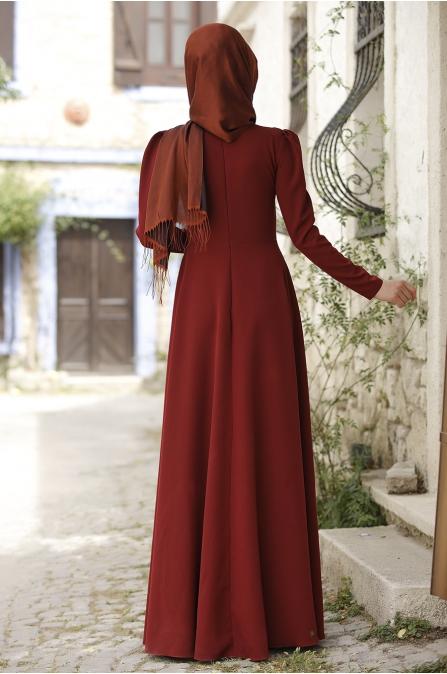 Piennar - Önü Nakışlı Elbise - Bordo