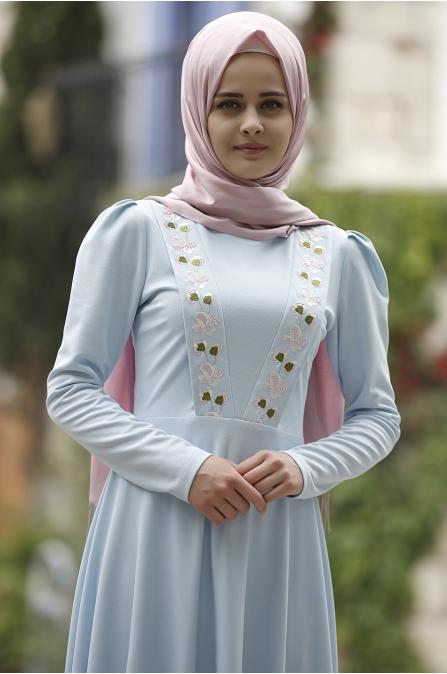 Piennar - Önü Nakışlı Elbise - Mint