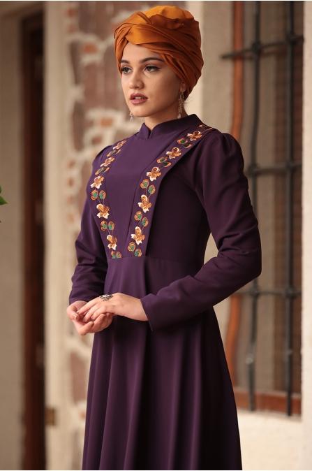 Piennar - Önü Nakışlı Elbise - Mor